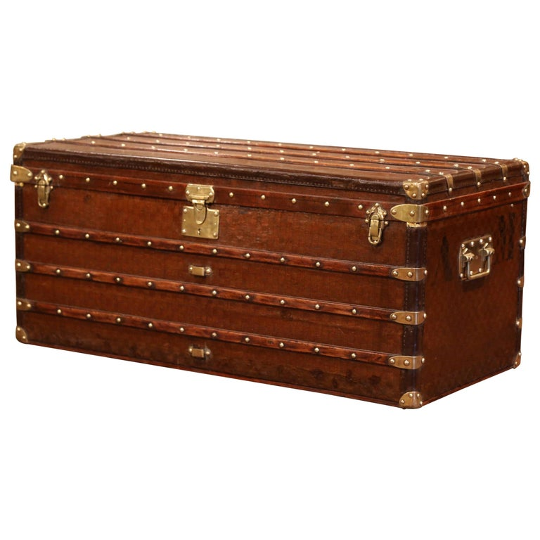 19th Century French Iron Brass and Leather Travel Trunk Vuitton Style For Sale