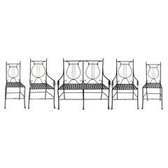 19th Century French Iron Garden Seating Set