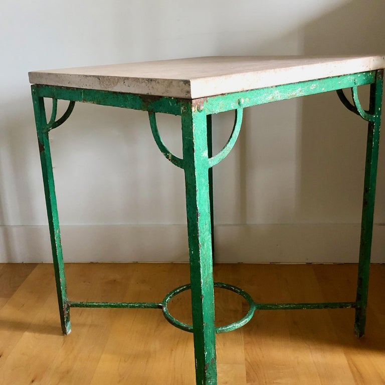 19th Century French Iron Table with Stone Top In Good Condition For Sale In Charleston, SC