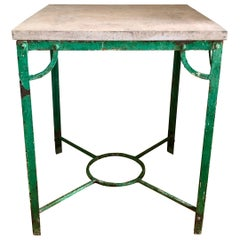 19th Century French Iron Table with Stone Top