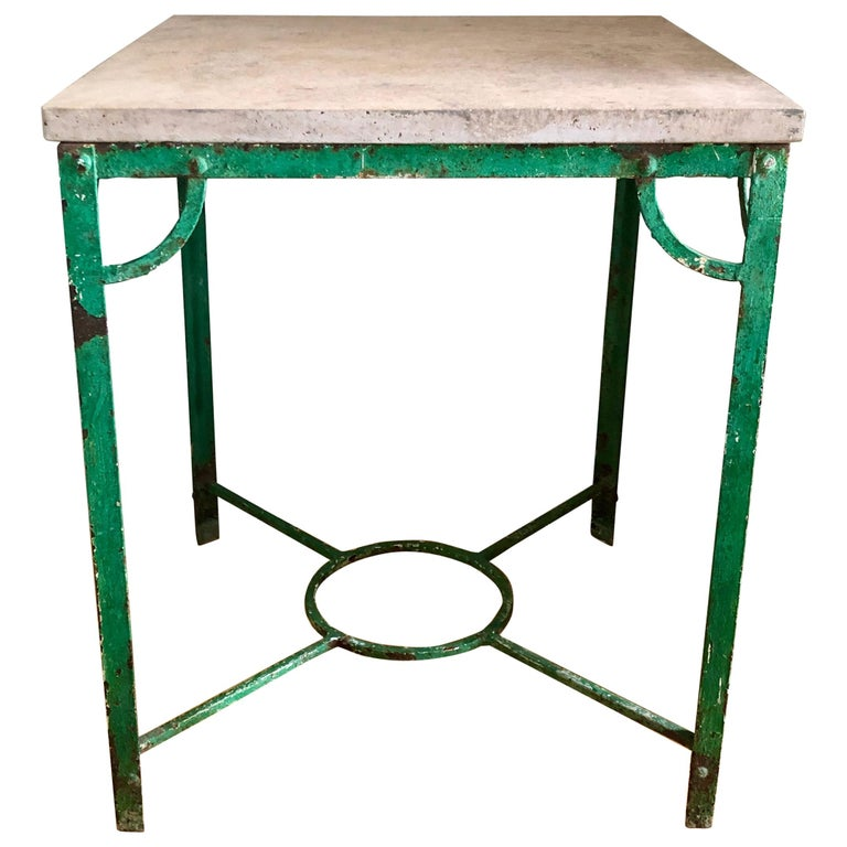 19th Century French Iron Table with Stone Top For Sale
