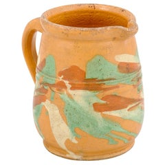 19th Century French Jaspe Pottery Pitcher with Yellow Glaze and Green Accents