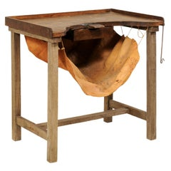 19th Century French Jeweler's Work Bench Table with Suspended Leather Catch