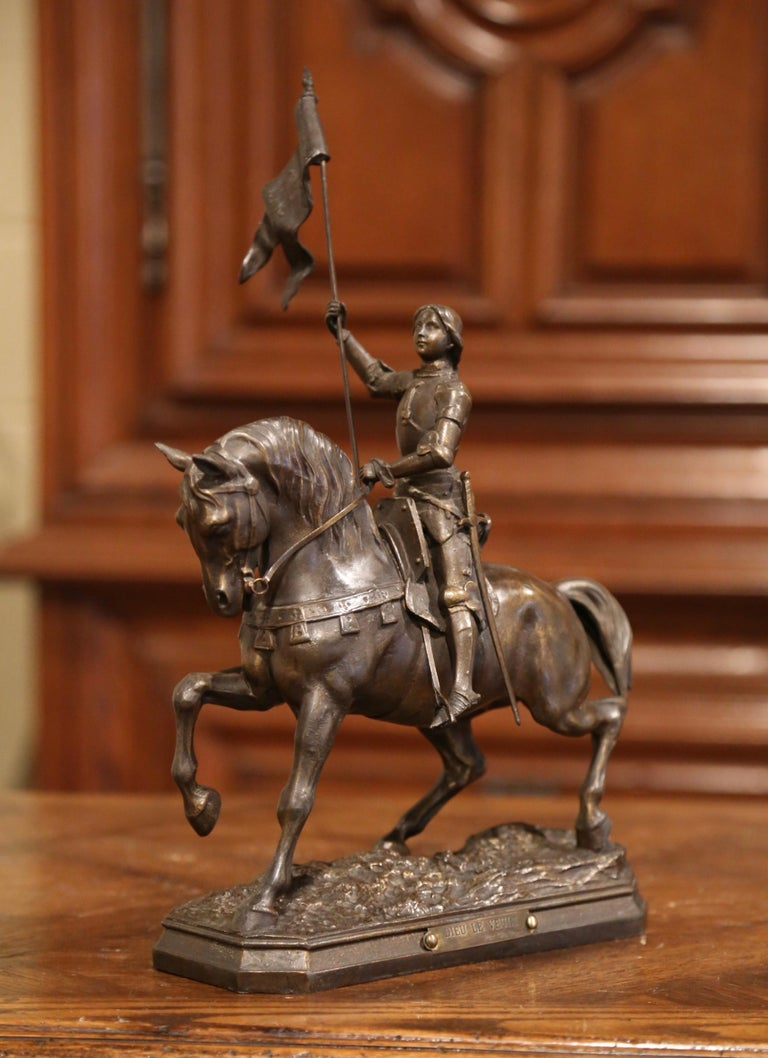 19th Century French Joan of Arc on Horse Patinated Spelter Figure Signed Perron 2