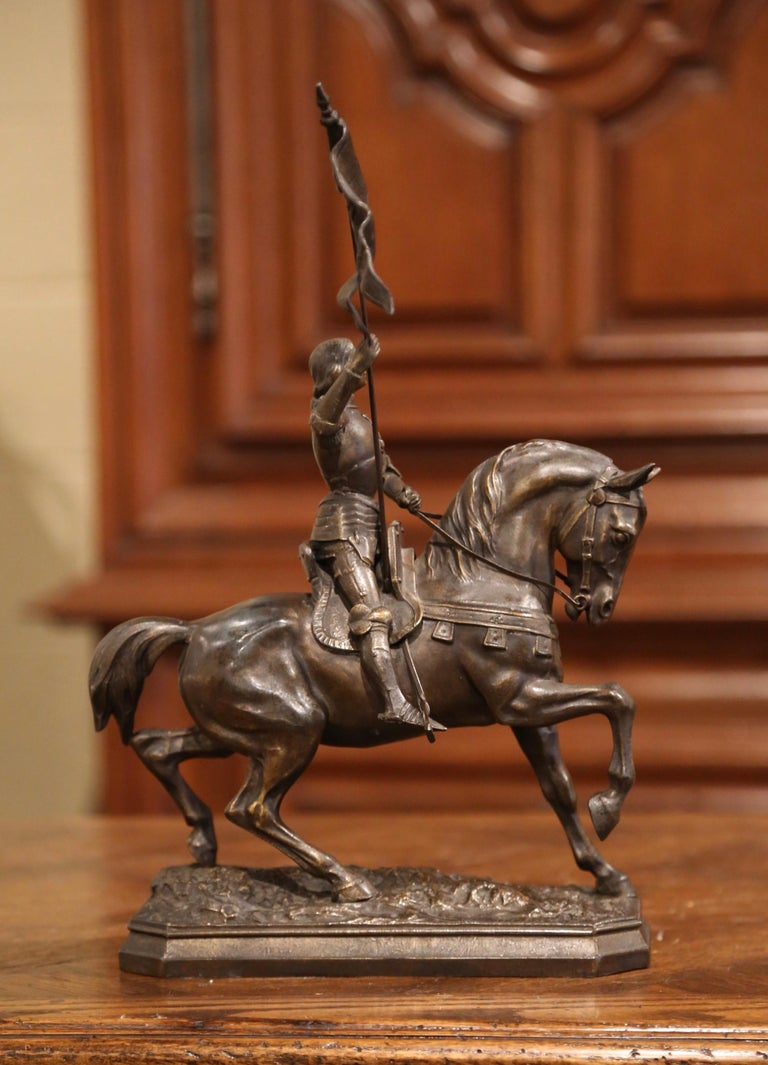 19th Century French Joan of Arc on Horse Patinated Spelter Figure Signed Perron 4