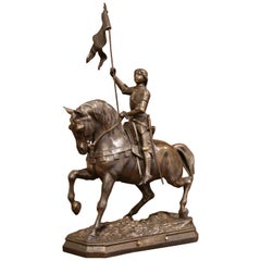 19th Century French Joan of Arc on Horse Patinated Spelter Figure Signed Perron