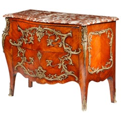 19th Century French Kingwood Bombe Commode with Marble Top in Louis XV Style