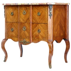 19th Century French Kingwood Marble Top Commode