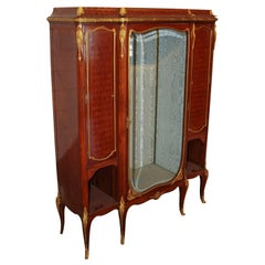 19th Century French Kingwood Parquetry Vitrine Cabinet