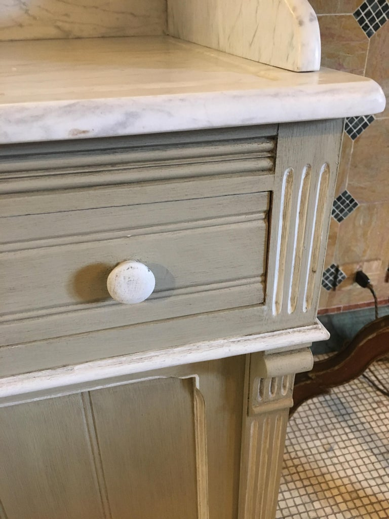 19th Century French Lacquered Cupboard Sink with Carrara Marble Top, 1890s For Sale 4