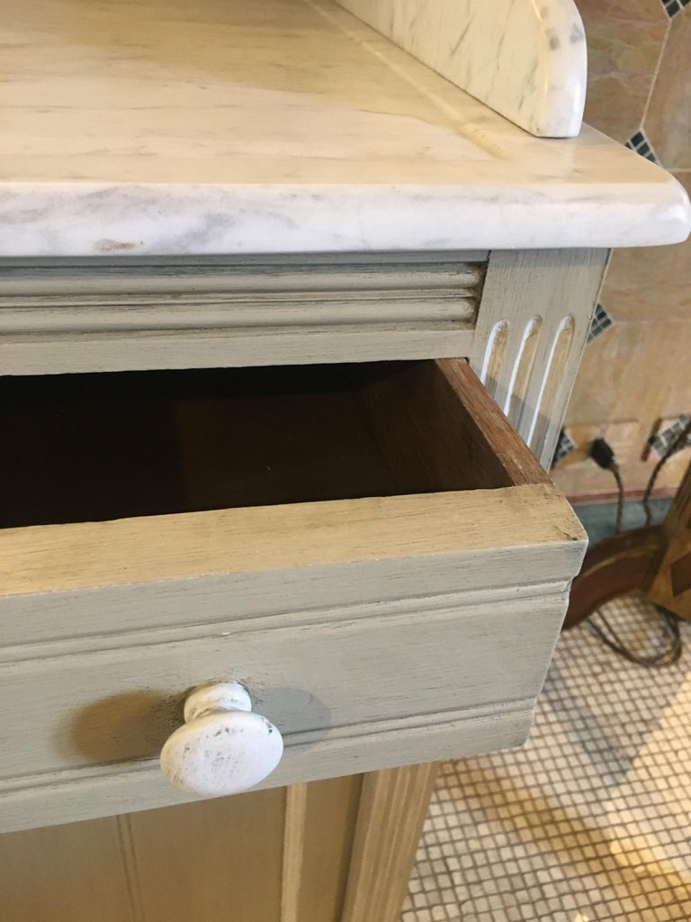 19th Century French Lacquered Cupboard Sink with Carrara Marble Top, 1890s For Sale 5