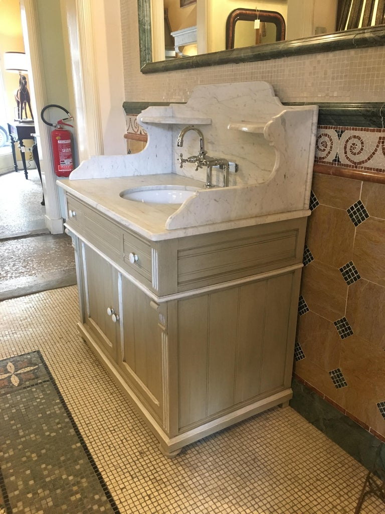 Victorian 19th Century French Lacquered Cupboard Sink With Carrara Marble Top 1890s For