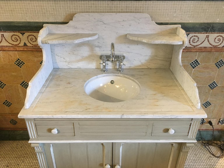 Late 19th Century 19th Century French Lacquered Cupboard Sink with Carrara Marble Top, 1890s For Sale