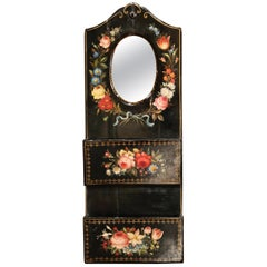 19th Century French Lacquered Mirrored Letter Holder with Painted Floral Motifs