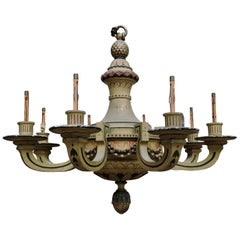 19th Century French Lacquered Wood Chandelier