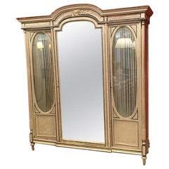 19th Century French Lacquered Wood Cupboard with Mirror, 1890s