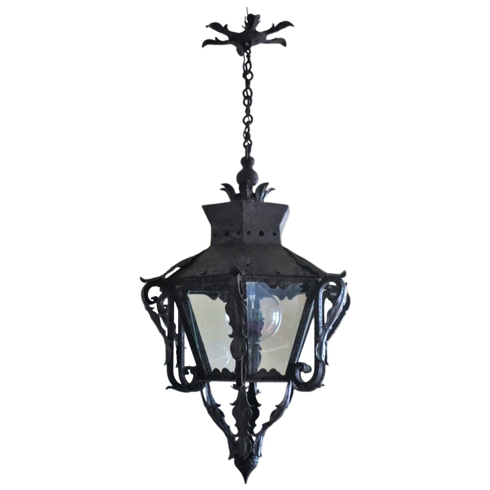 19th-Century Large French Hand Forged Iron Glass Electrified Street Lantern