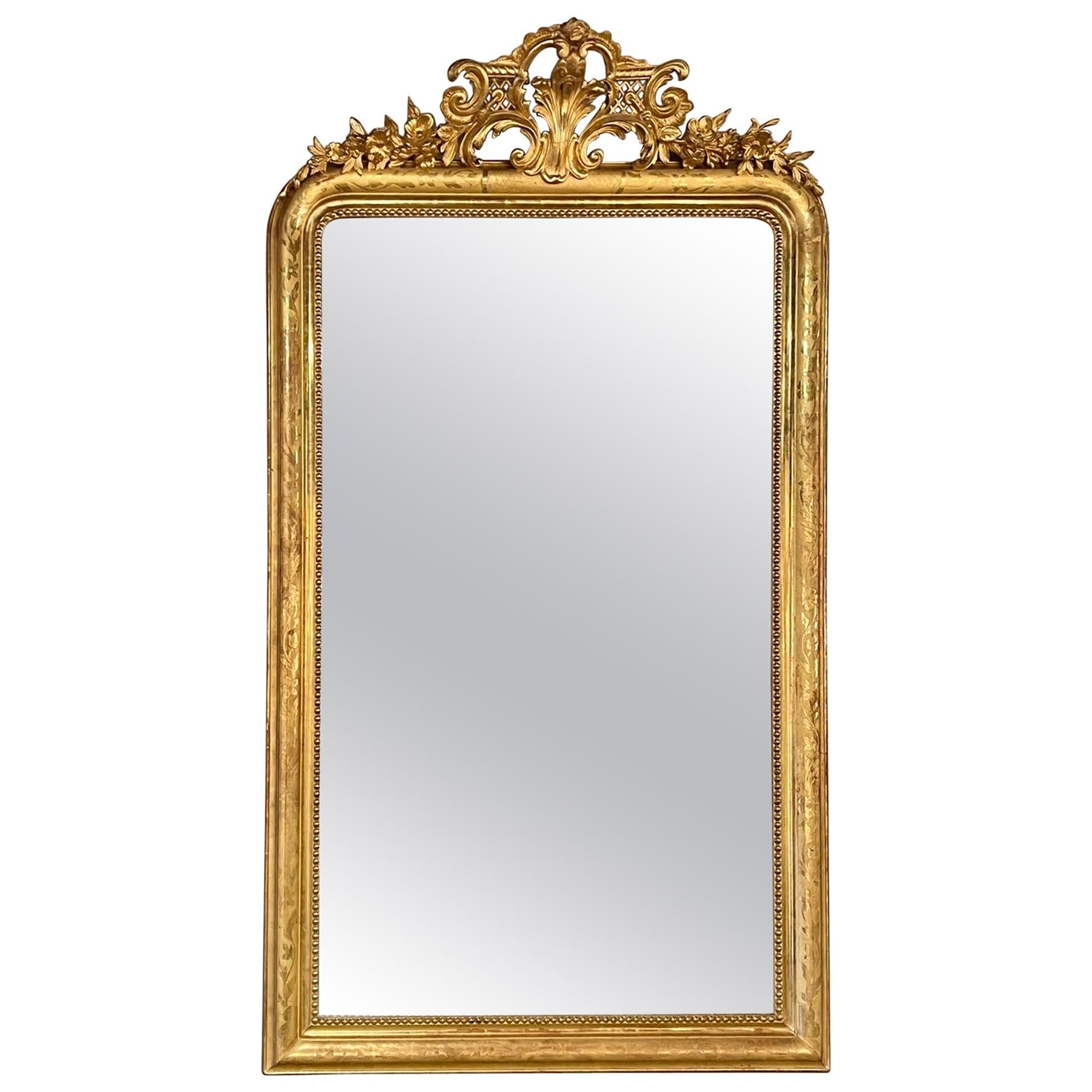 19th Century French Large Scale Gold Louis Philippe Mirror with Crest