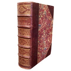 """19th Century French Leather Bound Book Titled """"Napoleon Ier"""" by Roger Peyre"""