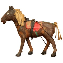 19th Century French Leather Paper Mache and Horse Hair Painted Sculpture