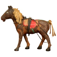 19th Century French Leather Paper Mâché and Horse Hair Painted Sculpture