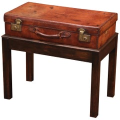 19th Century French Leather Suitcase on Oak Stand Side Table