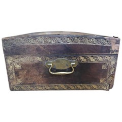 19th Century French Leather Trunk with Gold Detail