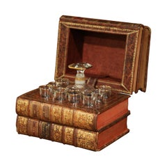 19th Century French Leatherbound Book Liquor Box with Shot Glasses and Carafe
