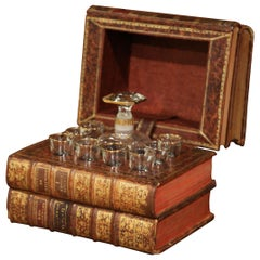 19th Century French Leather-Bound Book Liquor Box with 8 Shot Glasses and Carafe