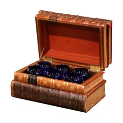 19th Century French Leatherbound Book Liquor Box with Six Cobalt Blue Tumblers