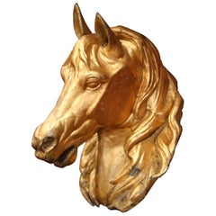 19th Century French Life-Size Tole Horse Head Sculpture and Original Gilt Finish