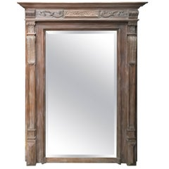 19th Century French Limed Wood Neoclassical Style Beveled Mirror