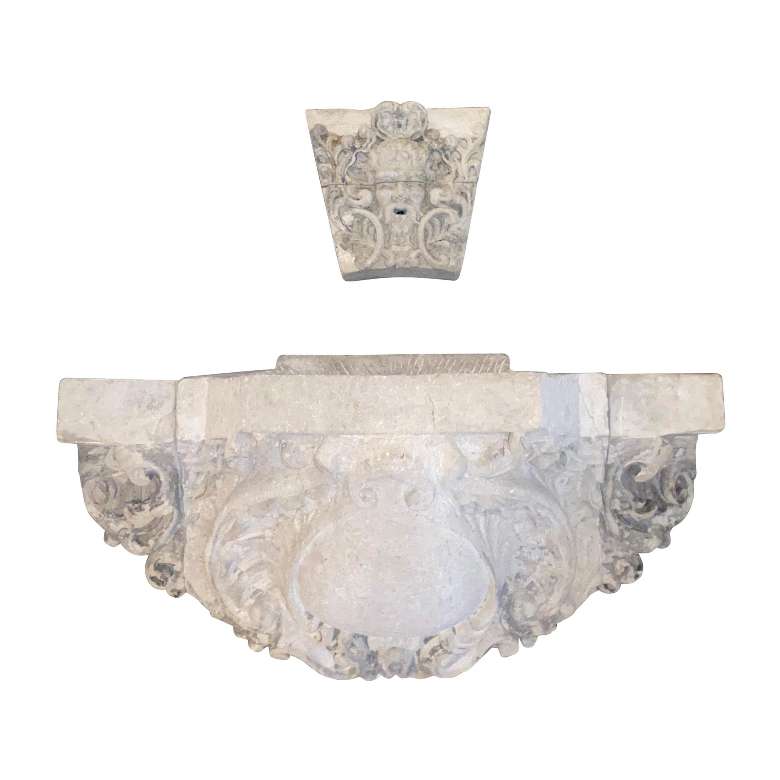 19th Century French Limestone Wall Fountain