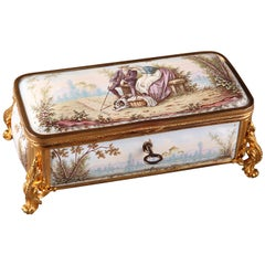 19th Century French Limoges Enamel Box