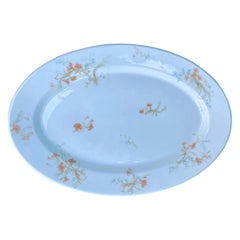 19th Century French Limoges White Porcelain Platter with Flowers, Marked