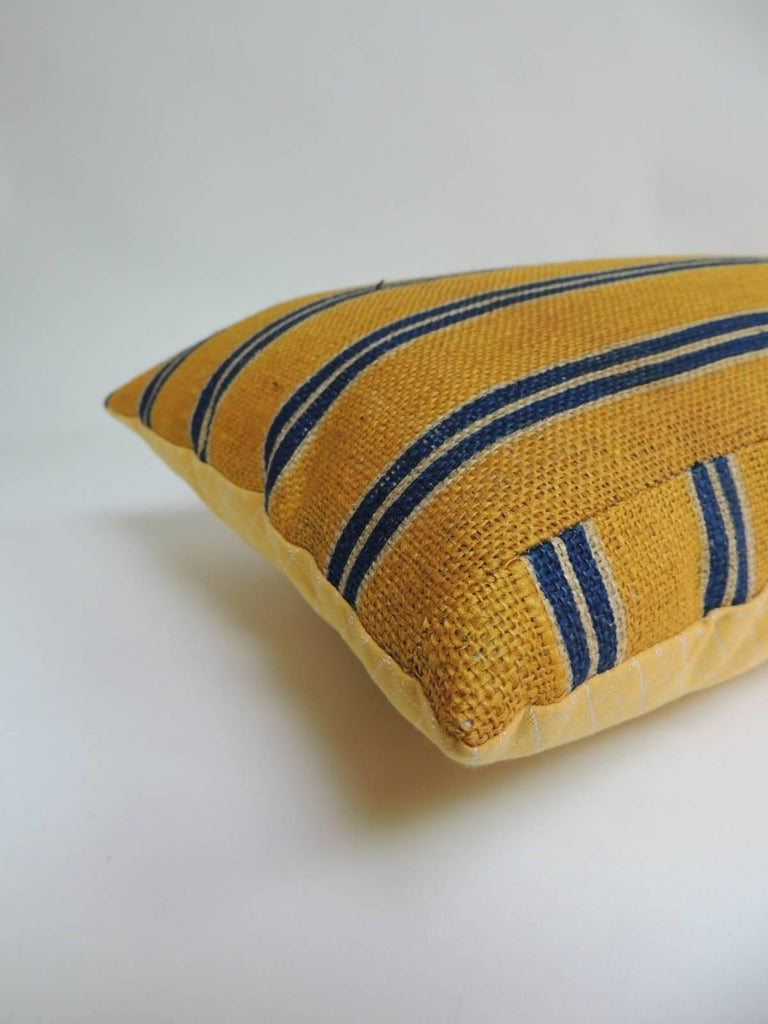 French Provincial 19th Century French Linen Stripes Yellow and Blue Long Bolster Decorative Pillow For Sale