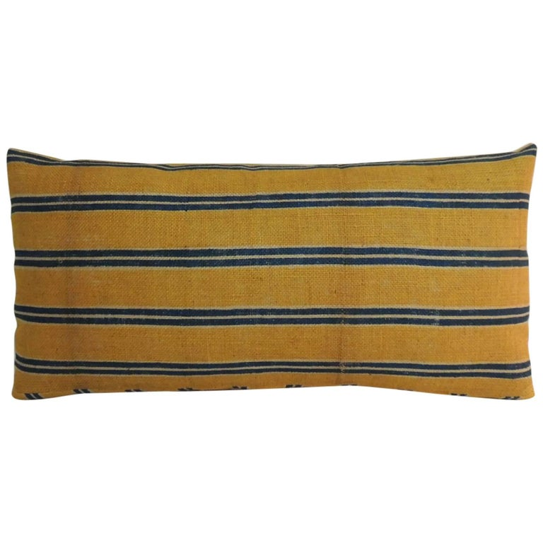 19th Century French Linen Stripes Yellow and Blue Long Bolster Decorative Pillow For Sale