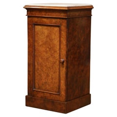19th Century French Louis Philippe Burl Bedside Table with Marble Top