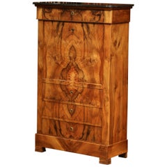 19th Century French Louis Philippe Burl Walnut Secretary Desk with Marble Top