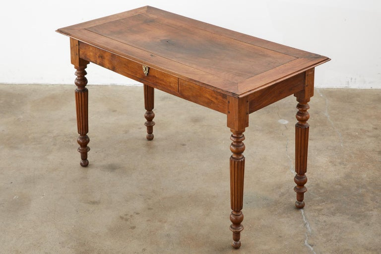 19th Century French Louis Philippe Fruitwood Writing Table Desk In Good Condition In Rio Vista, CA