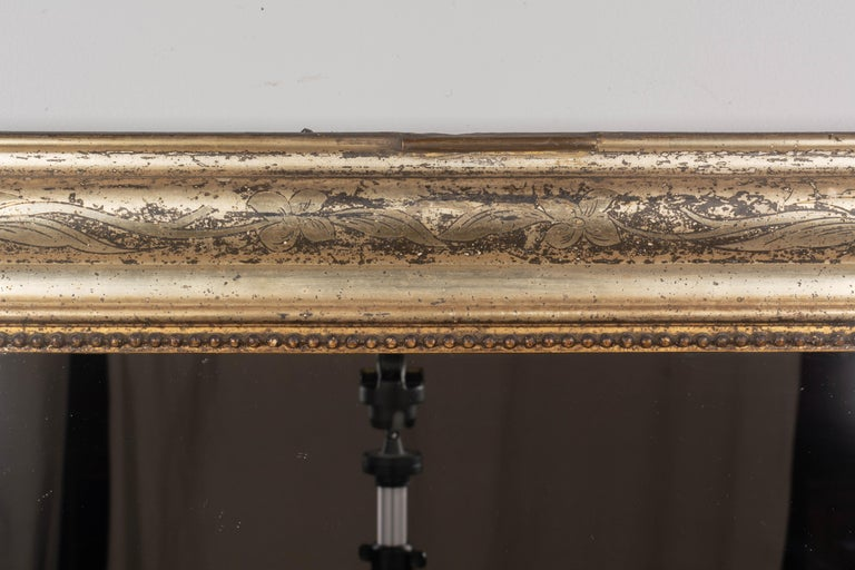 19th Century French Louis Philippe Gilded Mantel Mirror In Good Condition In Winter Park, FL