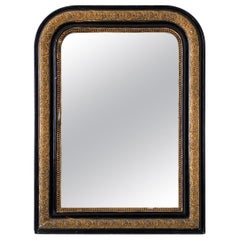 19th Century French Louis Philippe Gilt and Black Lacquered Mirror