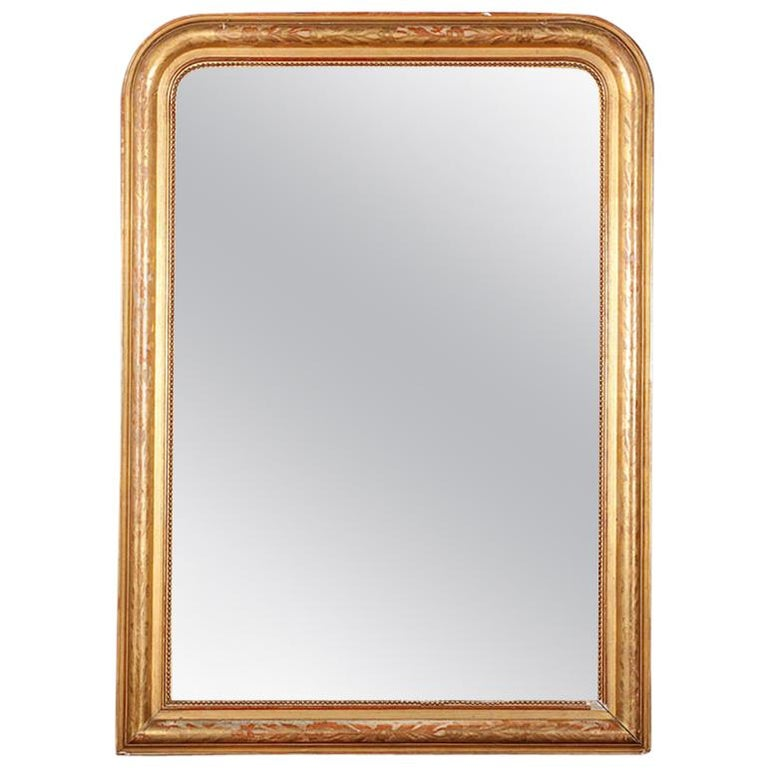 19th Century French Louis Philippe Gilt Framed Mirror For Sale