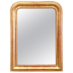 19th Century French Louis Philippe Giltwood Mirror with Engraved Geometric Decor