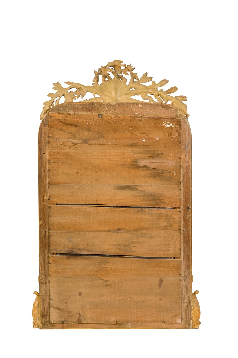 19th-Century French Louis Philippe Gold Leaf Gilt Mirror with Crest For Sale 6