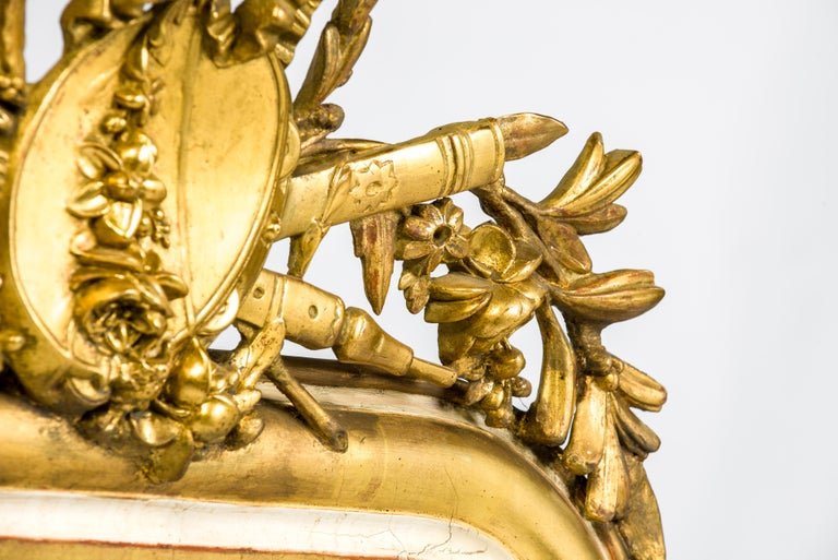 Pine 19th-Century French Louis Philippe Gold Leaf Gilt Mirror with Crest For Sale