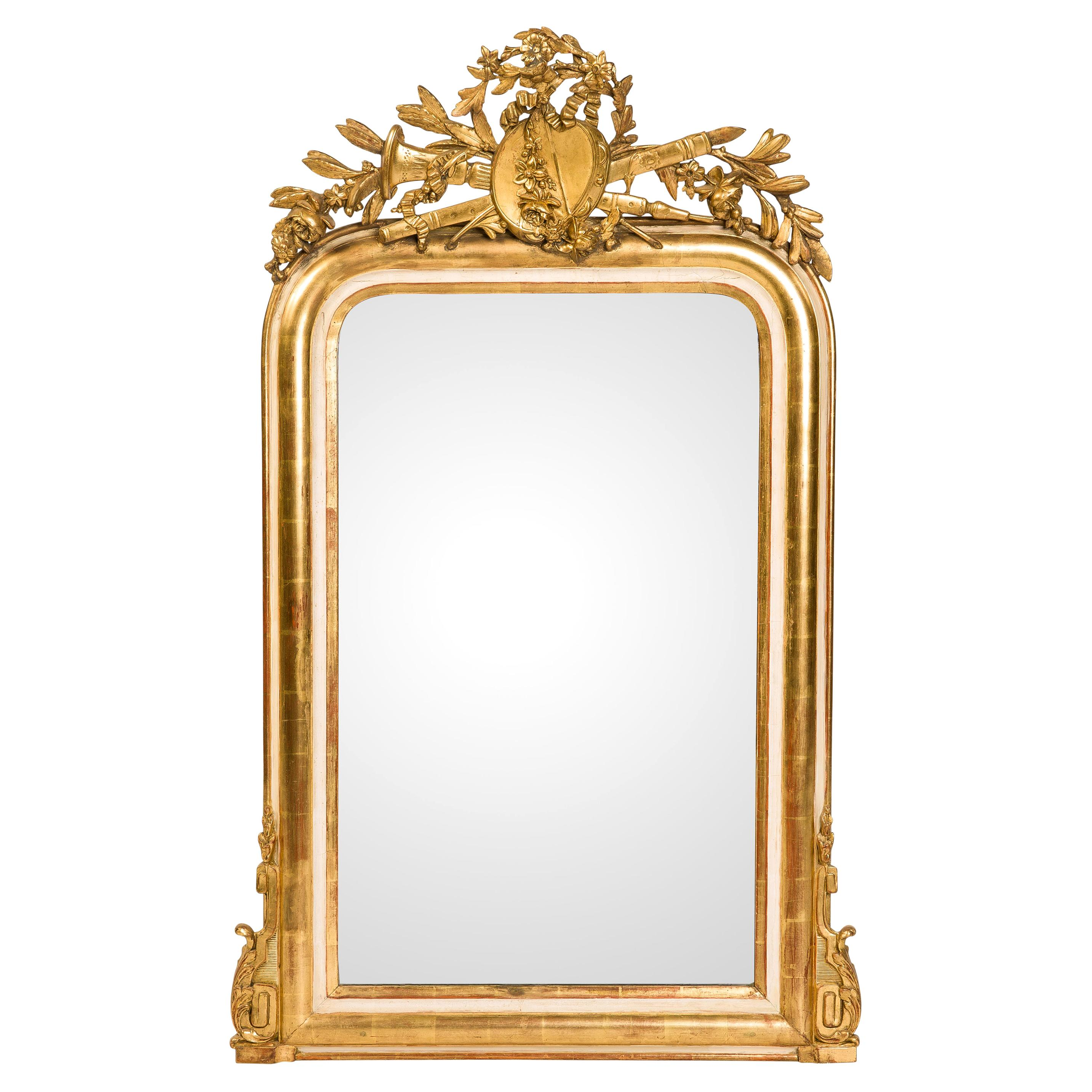 19th-Century French Louis Philippe Gold Leaf Gilt Mirror with Crest