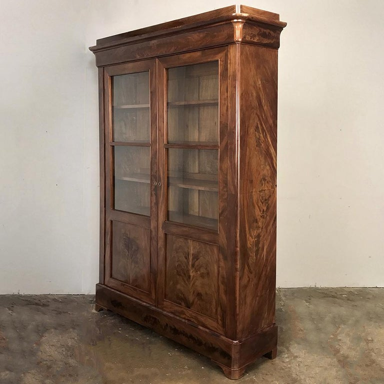 Hand-Crafted 19th Century French Louis Philippe Mahogany Bookcase For Sale
