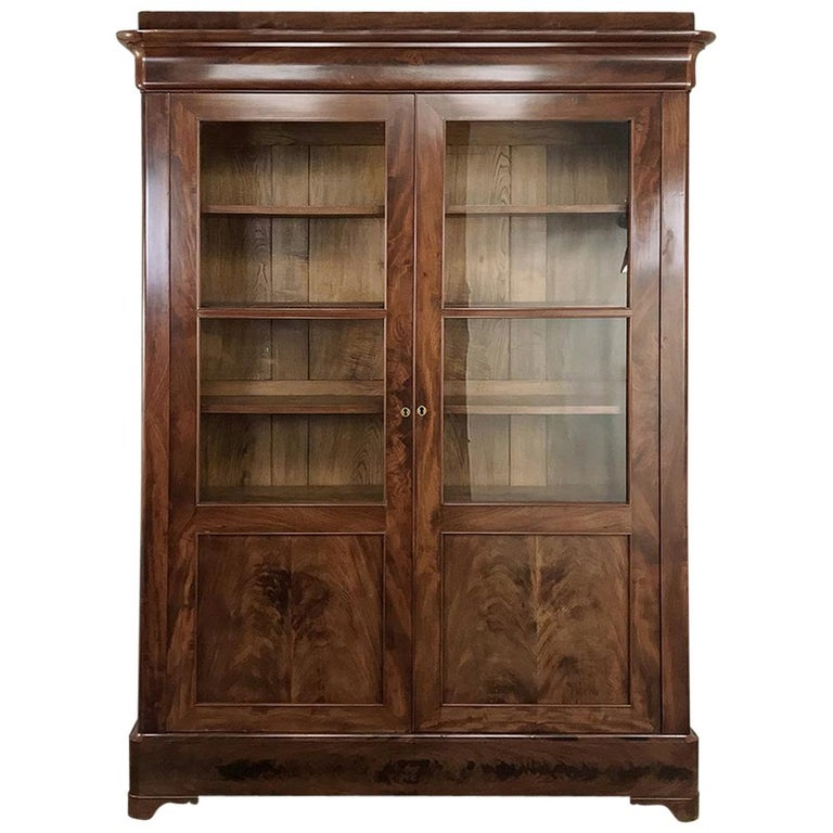 19th Century French Louis Philippe Mahogany Bookcase For Sale