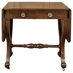19th Century French Louis Philippe Mahogany Drop-Leaf Writing Table
